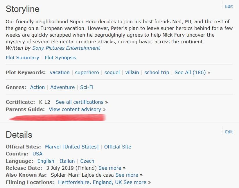 IMDb:n Parents Guiden löydät jokaisen elokuvan yhteydestä skrollaamalla.