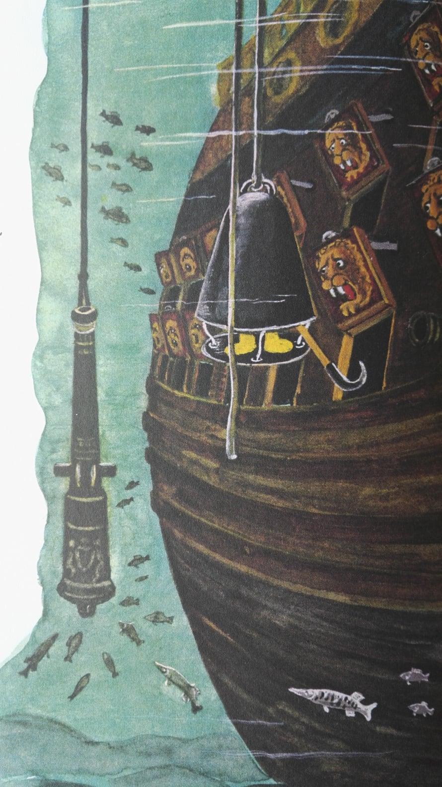 Lastenkirja havainnollistaa, miten sukelluskellon avulla Vasa-laivasta nostettiin ylös arvokkaat tykit. Tykkiluukkujen leijonanpääveistokset protestoivat.