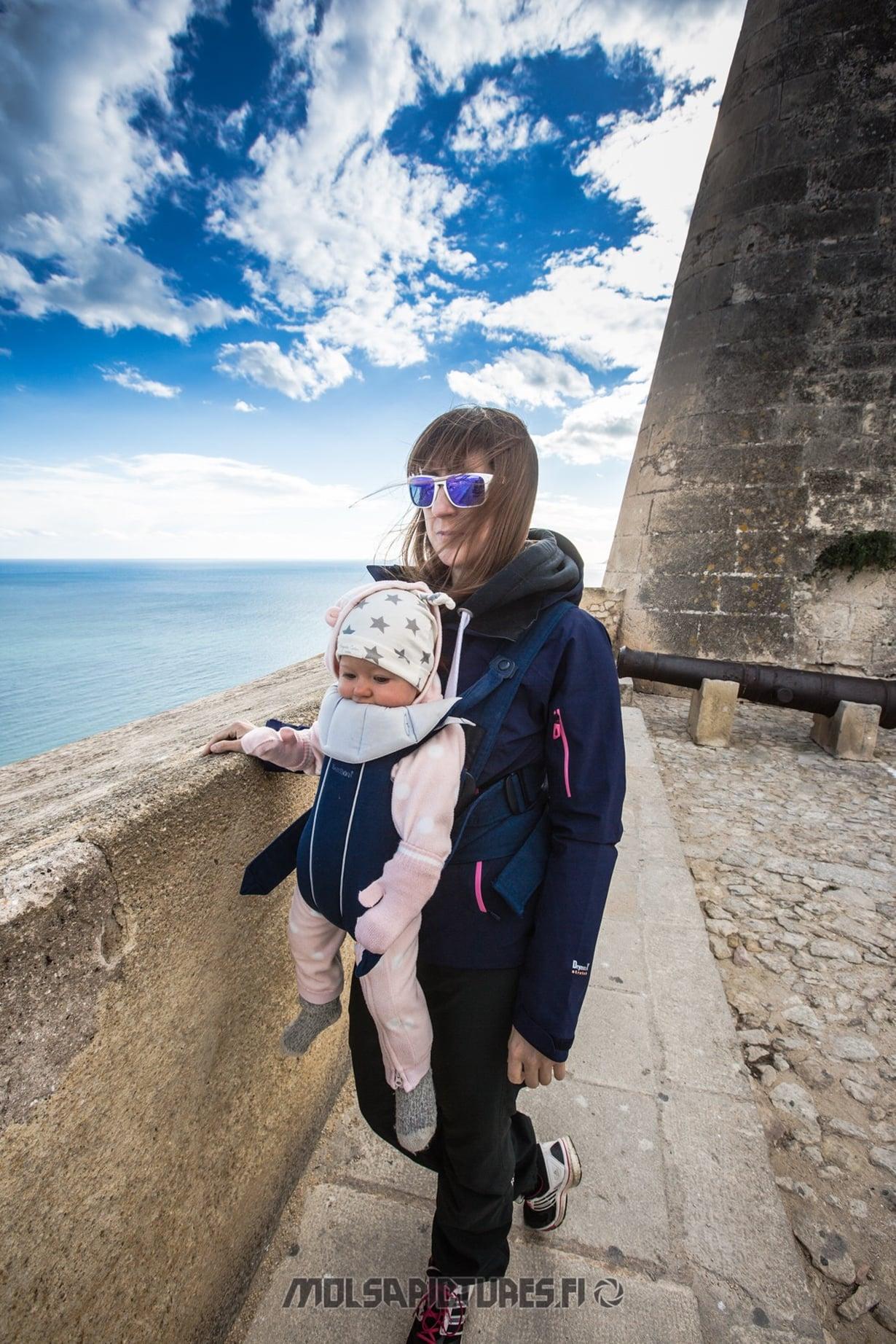 Alicante,  castillo de Santa Barbara, Mirvan Menomatkat, Mölsä Pictures, baby Björn, viewpoint, travelling with a baby