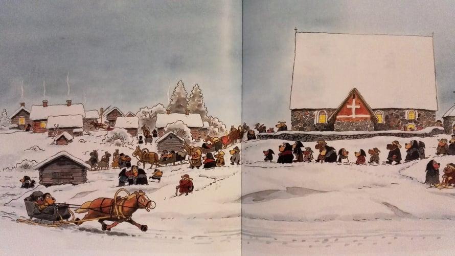 """Kirjassa """"Koiramäen joulukirkko"""" käydään jouluaamun juhlajumalanpalveluksessa Tyrvään Pyhän Olavin kirkossa."""