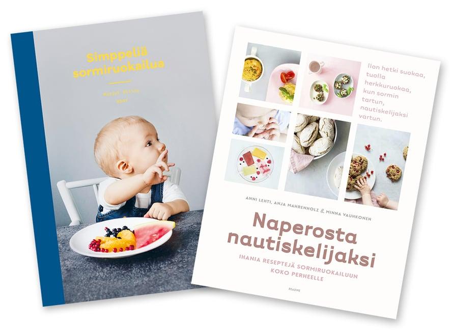 Kaksi uutta kotimaista kirjaa! Vasemmalla ruokaohjeita ja tukevaa faktaa aloittelevan perheen tueksi, oikealla houkuttelevia reseptejä sekä vertaistukea. Simppeliä sormiruokailua 24,50 e, WSOY. Naperosta nautiskelijaksi 22,80 e, Readme.fi