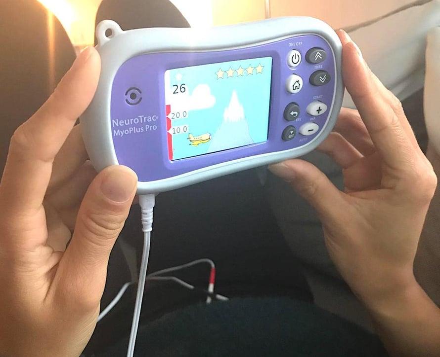 Biofeedback -laitteella voit myös pelata pelejä lantionpohjan lihaksia rentouttamalla..