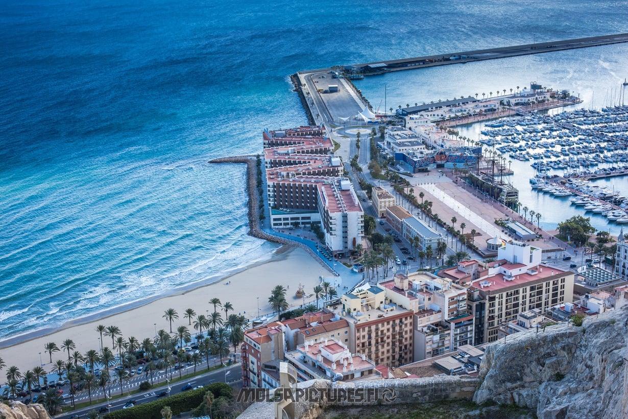 Alicante,  castillo de Santa Barbara, Mirvan Menomatkat, Mölsä Pictures, city view, skyline, viewpoint,  Harbour, beach, yachts