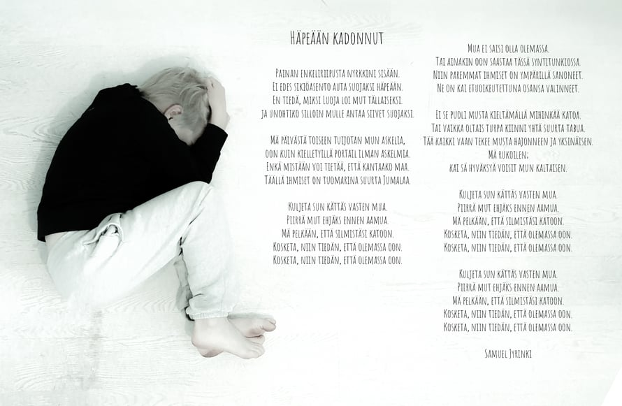 Kirjoittamani runo Häpeään kadonnut kertoo kelpaamattomuuden tuottamasta häpeästä. Runo löytyy myös tekstin lopusta!