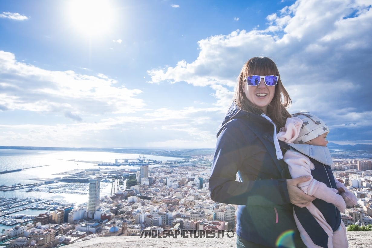 Alicante,  castillo de Santa Barbara, Mirvan Menomatkat, Mölsä Pictures, city view, skyline, viewpoint,  baby Björn, travelling with a baby
