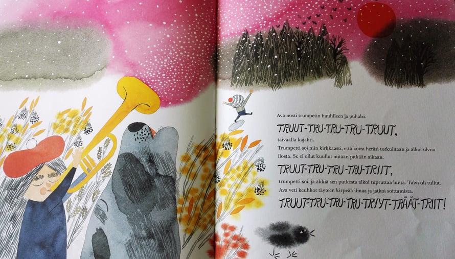 Kauniin kirjan kuvitus ja ulkoasu miellyttävät myös aikuislukijoita.