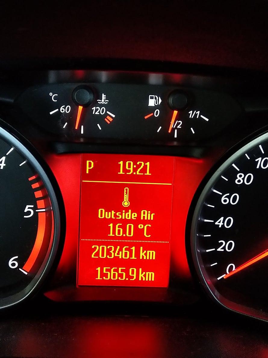 Kotona! Trippi nollautuu kahden tuhannen välein, joten kilometrejä kertyi 5566. Keskinopeus ja -kulutus ovat koko reissun lukemat.