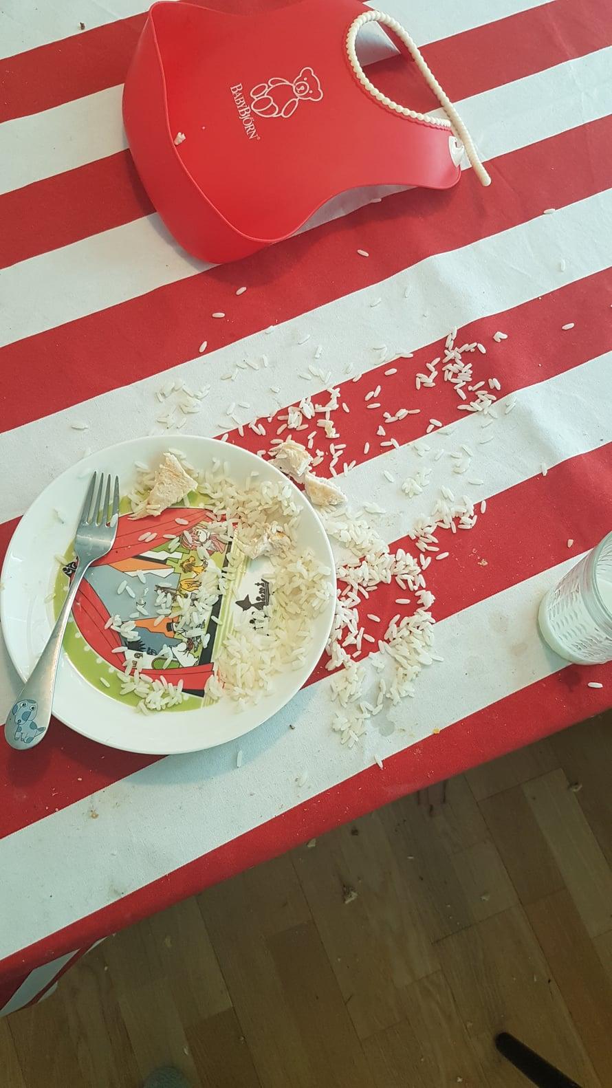 Riisi ja taapero ovat lyömätön yhdistelmä. Kuva: Koti-iskä88