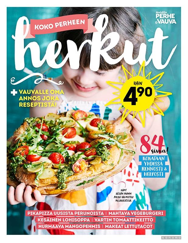Lisää huippureseptejä saat Koko perheen herkut -ruokakirjasesta, joka on myynnissä Lehtipisteissä kesän ajan.