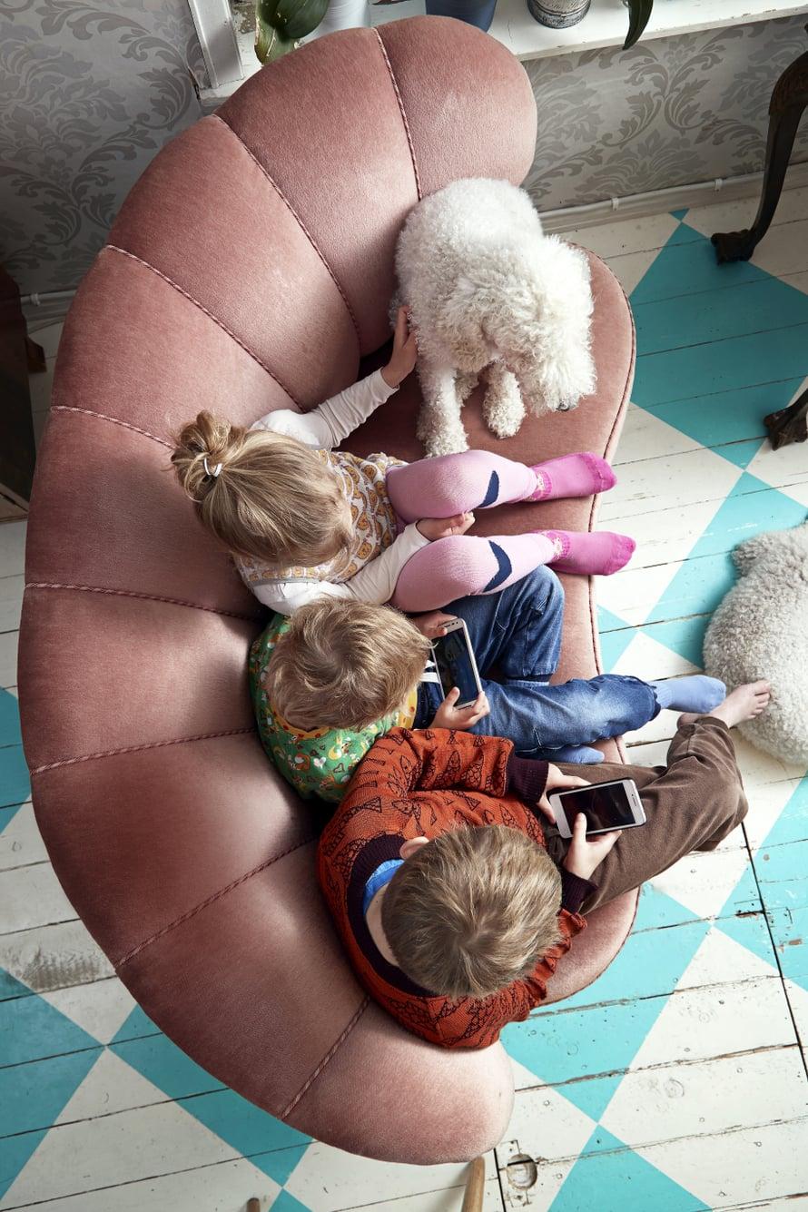 """Perintösohvalla. Sisarukset Oiva, Taito ja Tilda ovat tottuneet viettämään paljon aikaa yhdessä. Tuvan sohvalle kokoonnutaan pelaamaan ja katsomaan telkkaria. Antin äidiltä saadulle sohvalle mahtuvat myös bedlingtoninterrierit Armas ja Hellä. Kuva: <span class=""""photographer"""">Juha Salminen</span>"""
