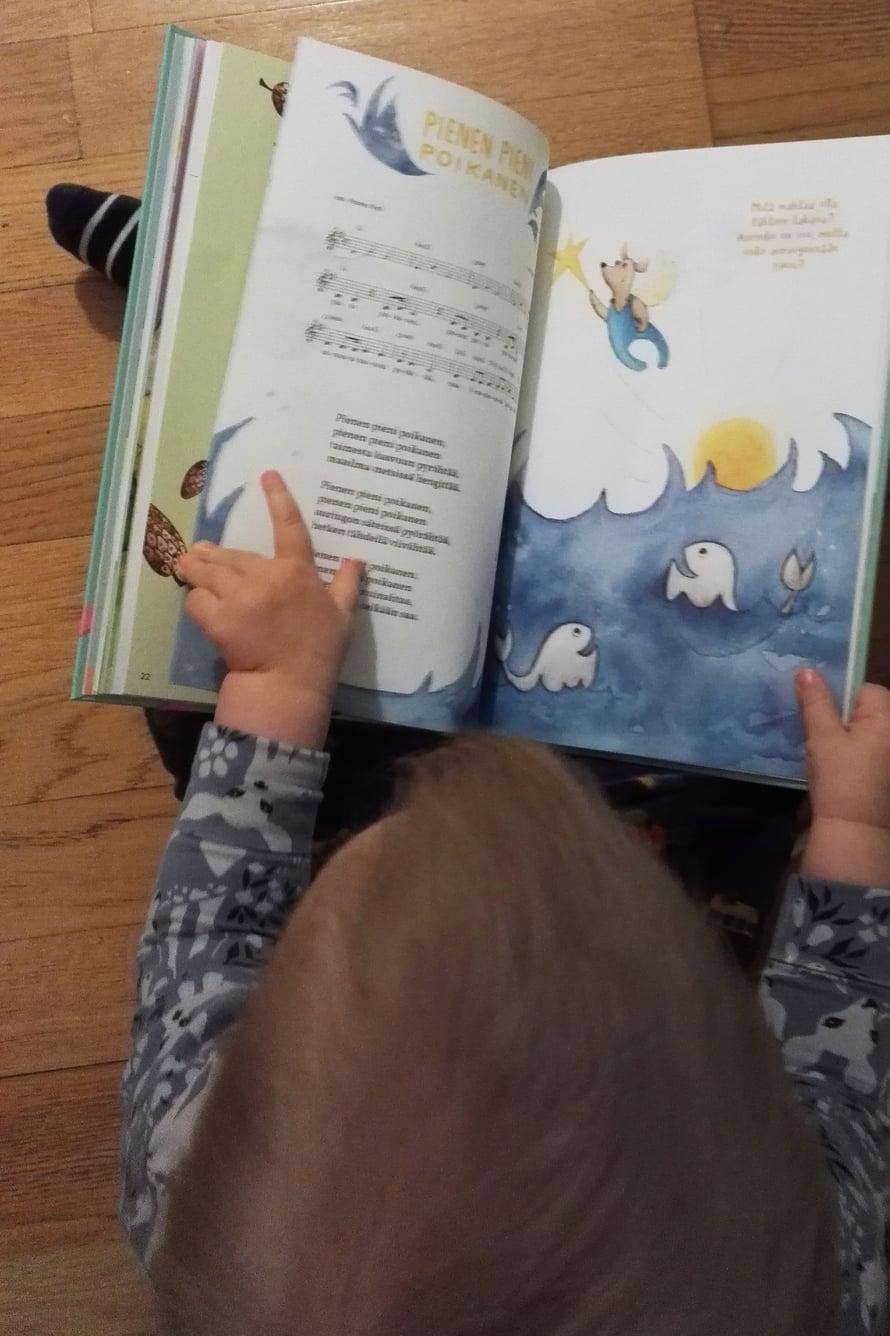 """Myös 1,5-vuotias kuopukseni pitäälevystä ja kirjasta kovasti. Tilaisuuden tullen hän selaa kirjaa ja bongaa sen sivuilta tuttuja eläimiä: """"Eppa!"""", """"Kerttu!"""" """"Miau!""""."""