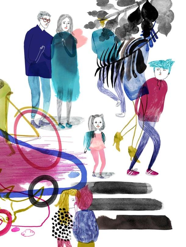 Koulun alku on lapselle harppaus kohti itsenäistymistä. Silloin vanhempien kannattaa pitää jäitä hatussa ja korvat auki. Kuvitus: Satu Kettunen